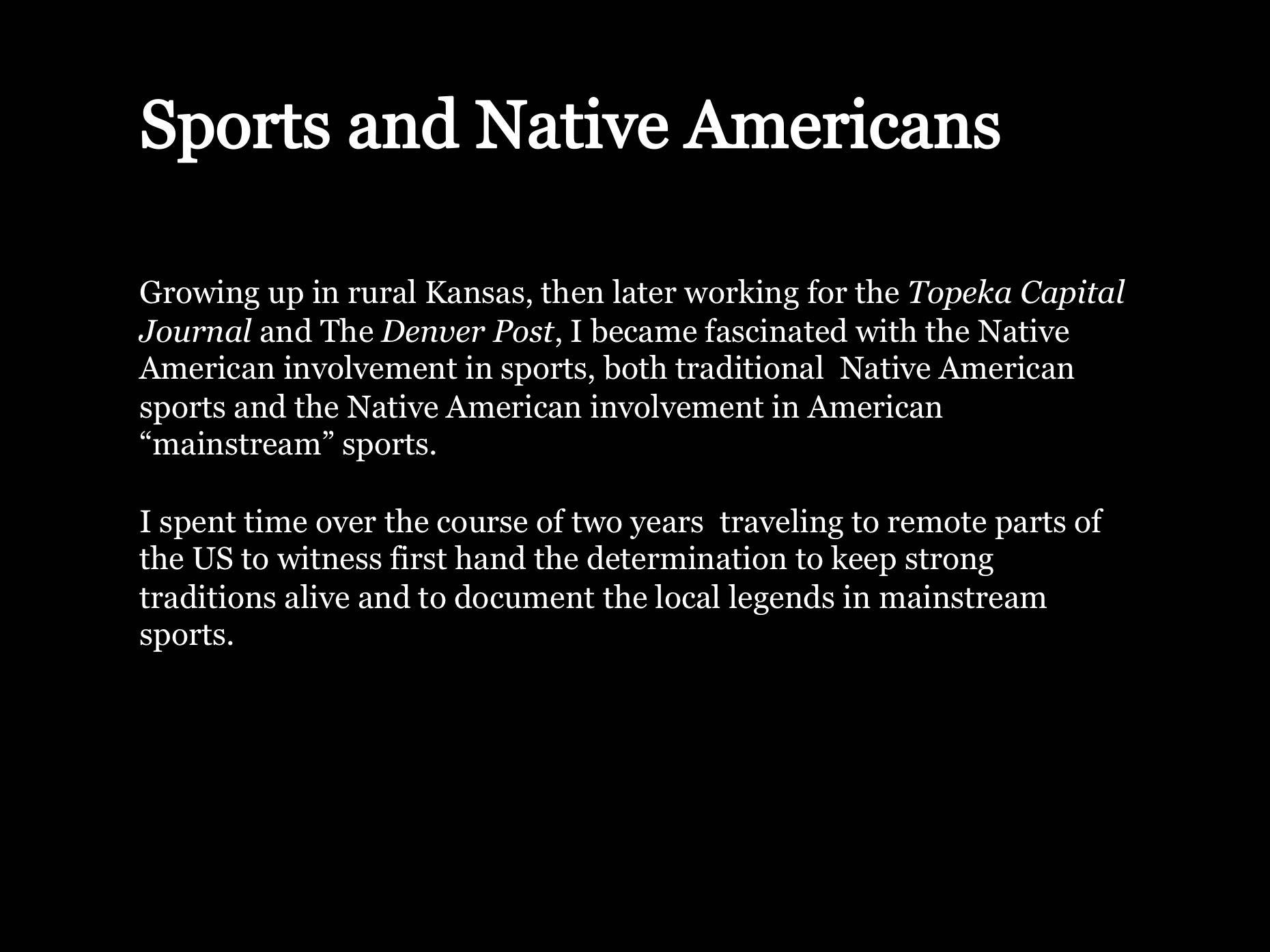 Review of Native American athletes gallery presentation.