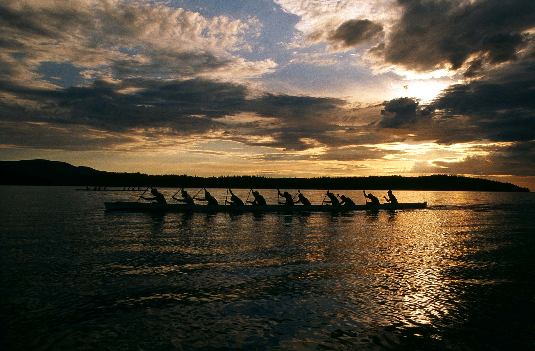 "60 foot long ""war canoes"" compete for bragging rights in competitions between neighboring Native American tribes."