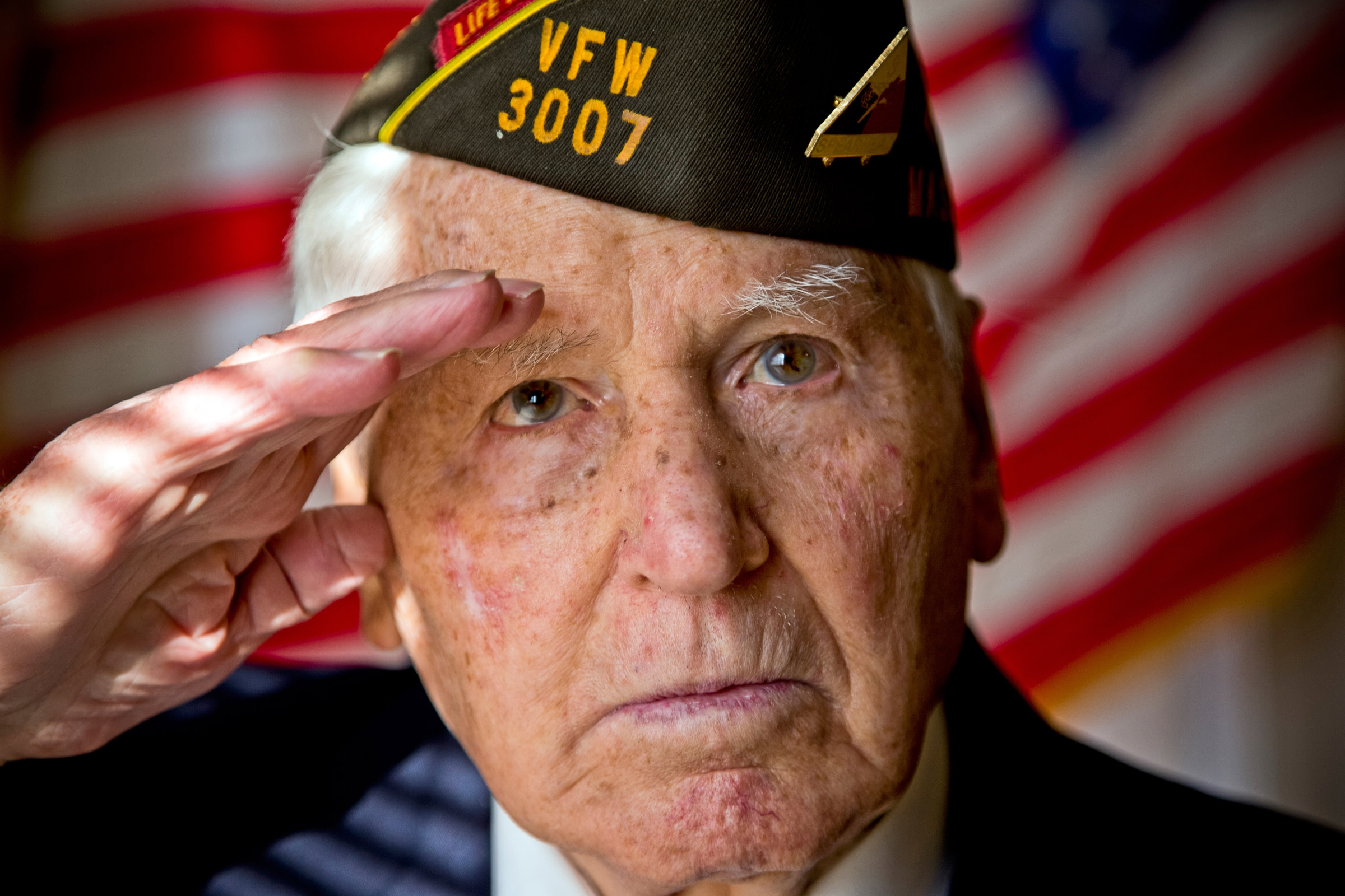 Aurio Pierro a Silver Star and Purple Heart veteran of World War II salutes.