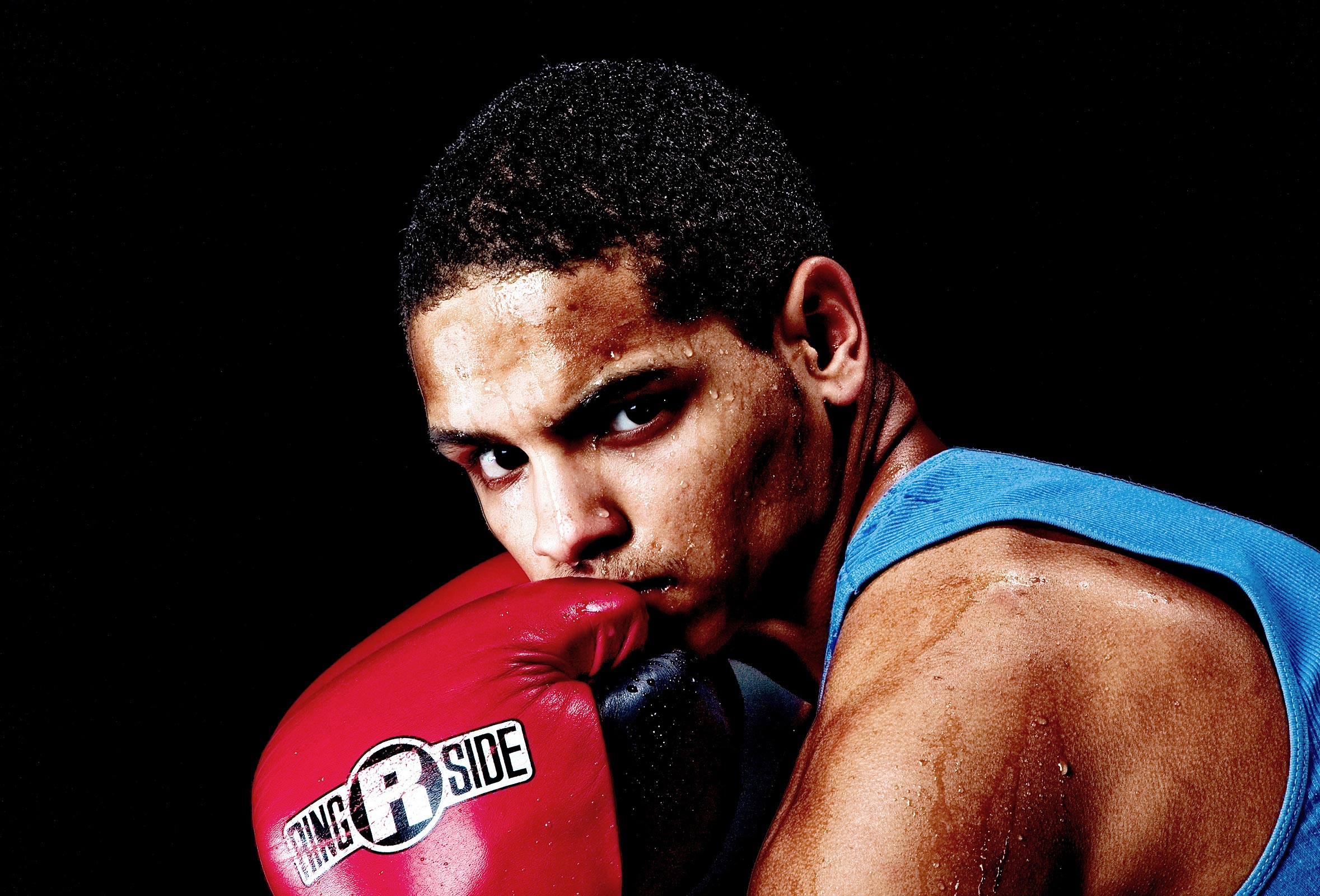 Golden Gloves boxer Edgar Perez poses for a portrait at The West End Boxing gym.