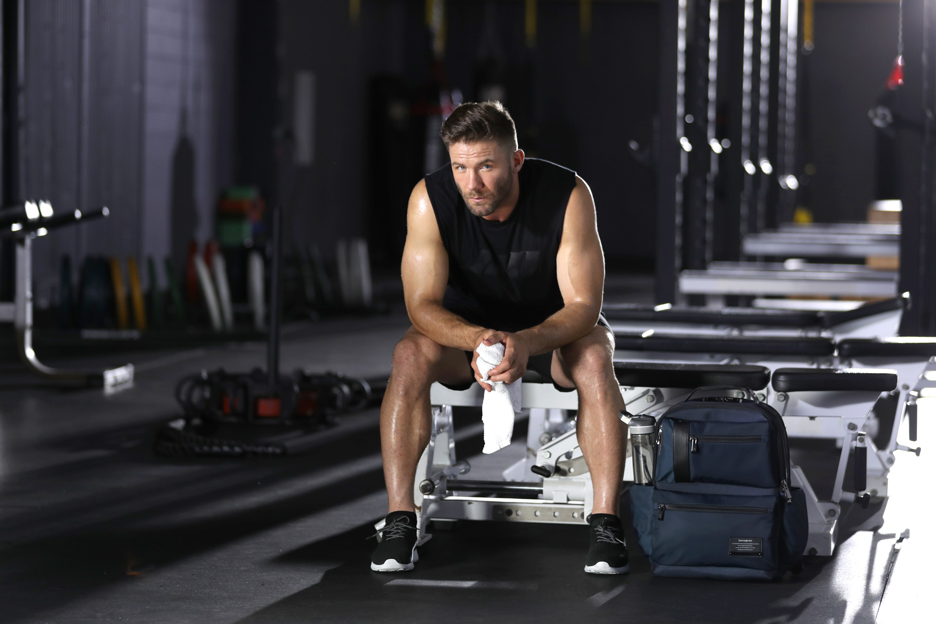 New England Patriots receiver Julian Edelman is shown in a weight room.