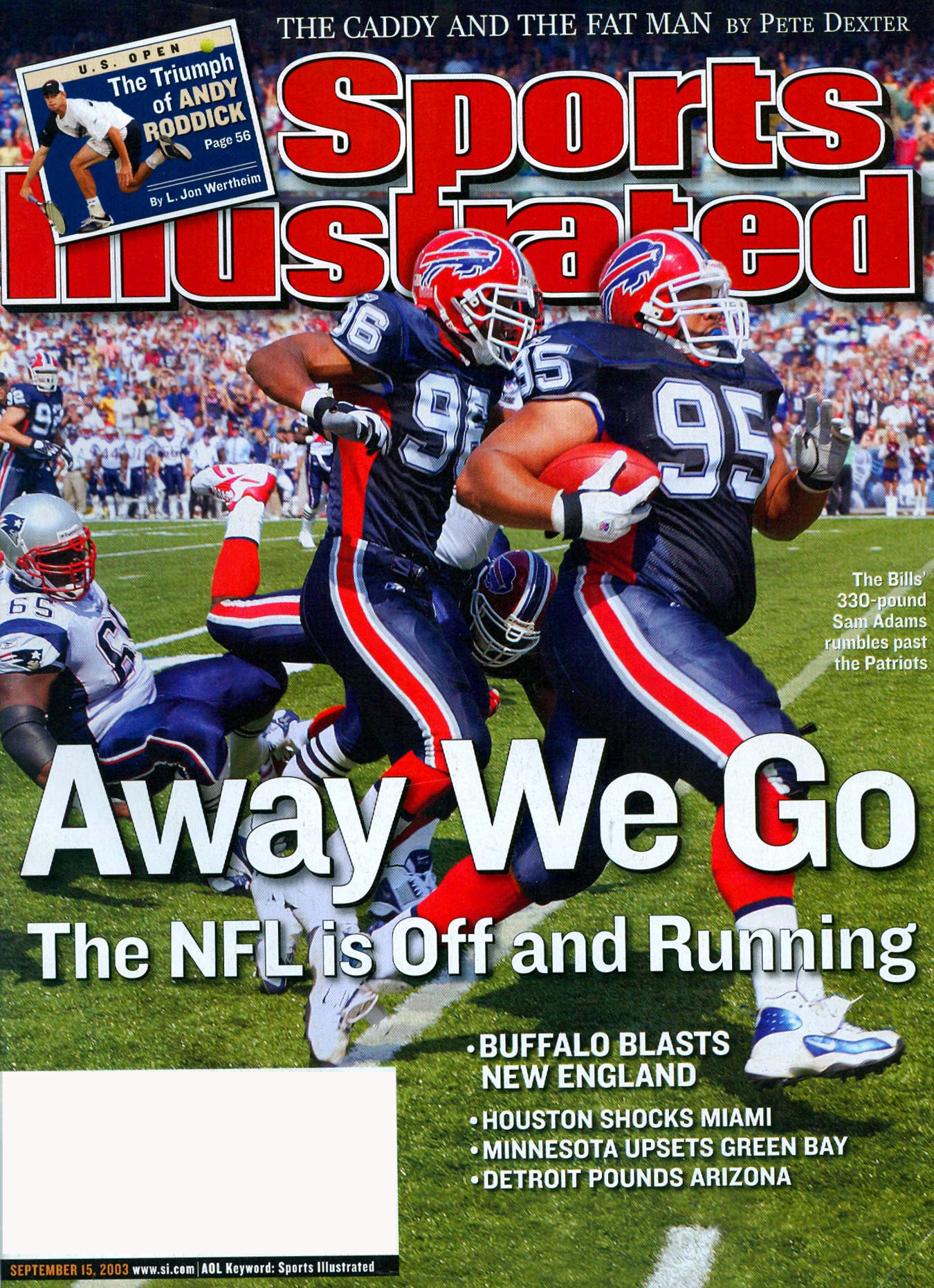 Buffalo Bills defensive lineman Sam Adams on the cover of Sports Illustrated.