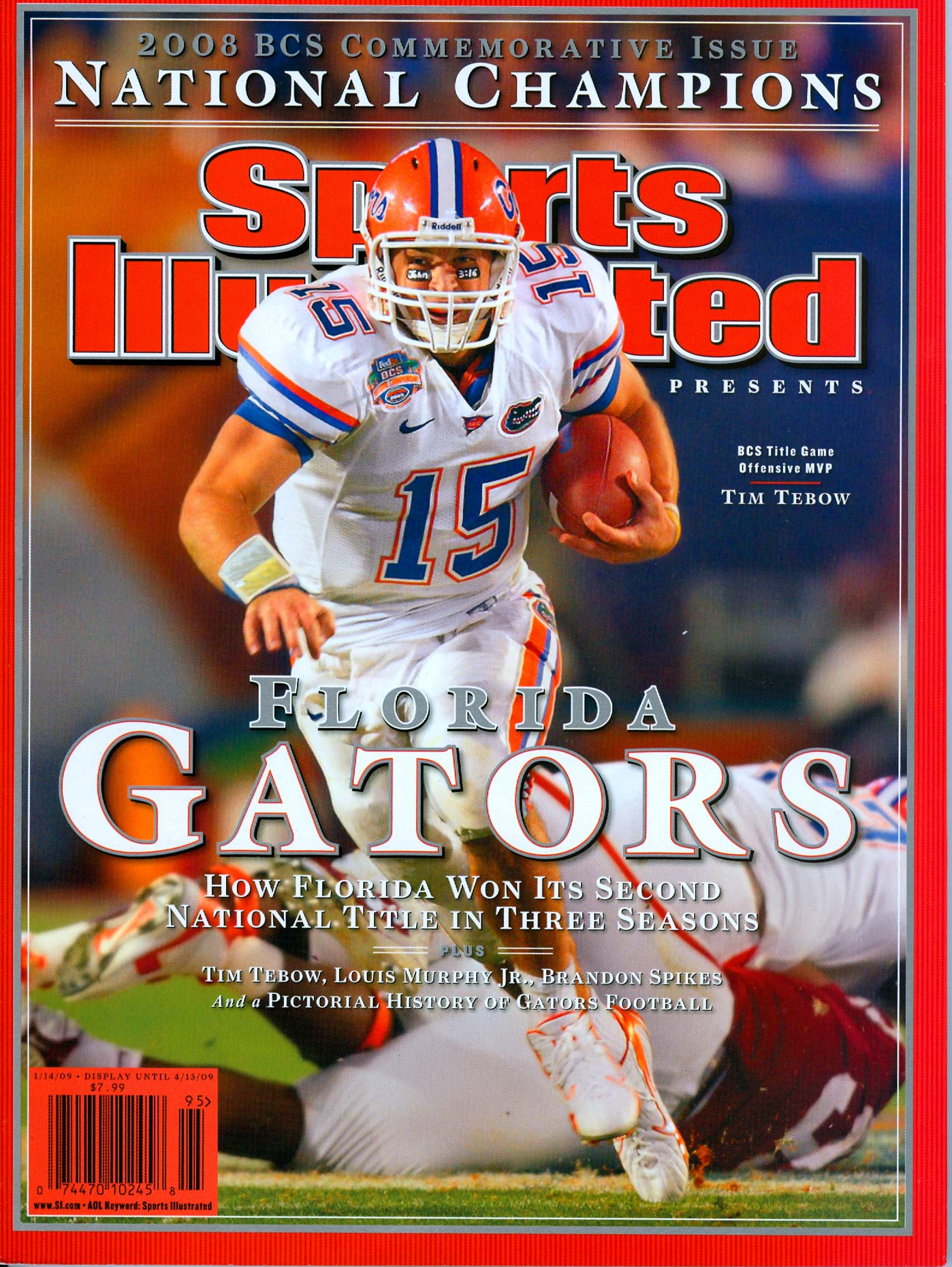 Florida Gators quarterback Tim Tebow on the cover of Sports Illustrated.