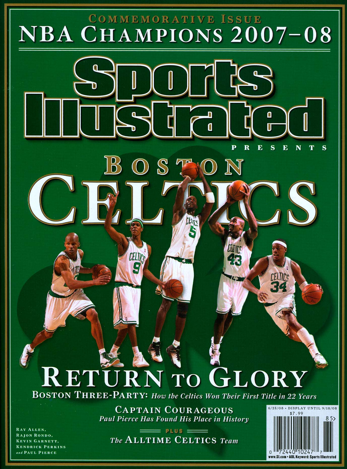 The Celtics on the cover of Sports Illustrated after winning the 2008 NBA title.