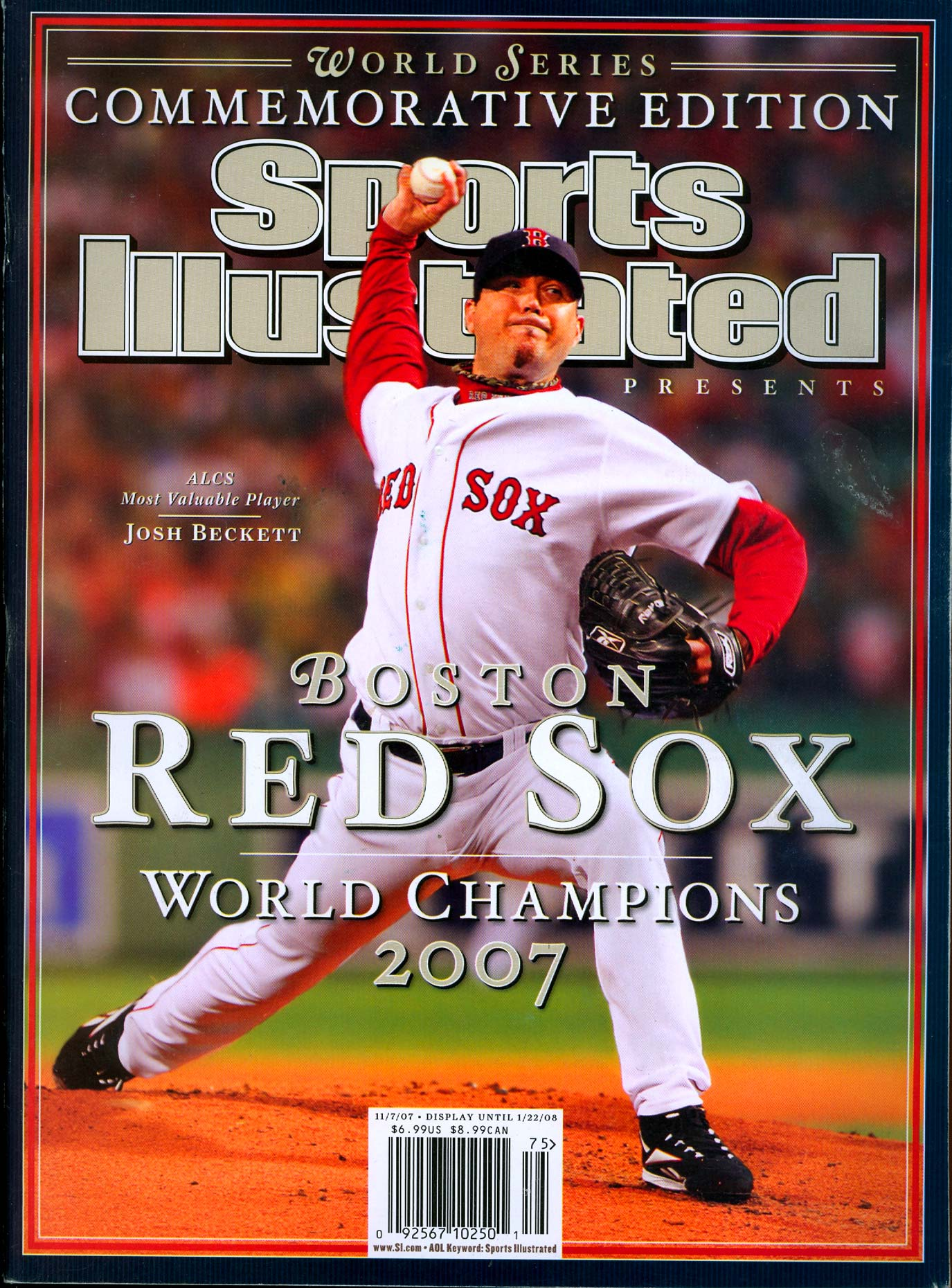 Boston Red Sox pitcher Josh Beckett on the cover of Sports Illustrated.