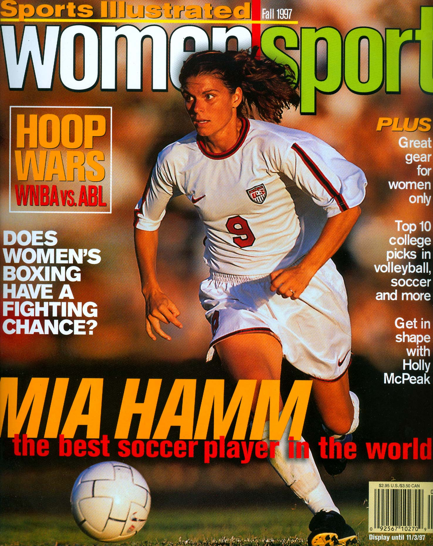 Soccer star Mia Hamm is featured on the cover of Sports Illustrated for Women.