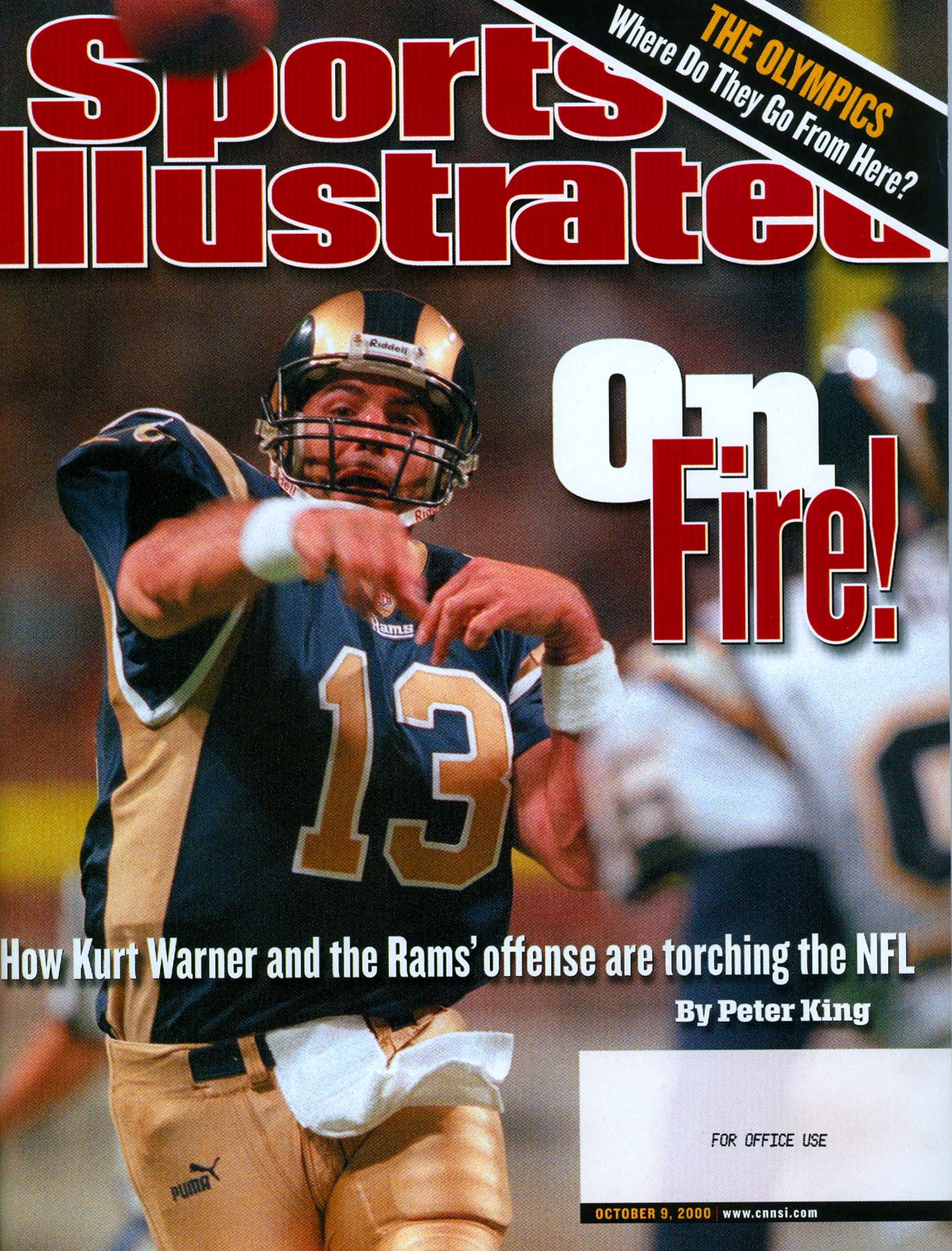 Saint Louis Rams quarterback Kurt Warner on the cover of Sports Illustrated.