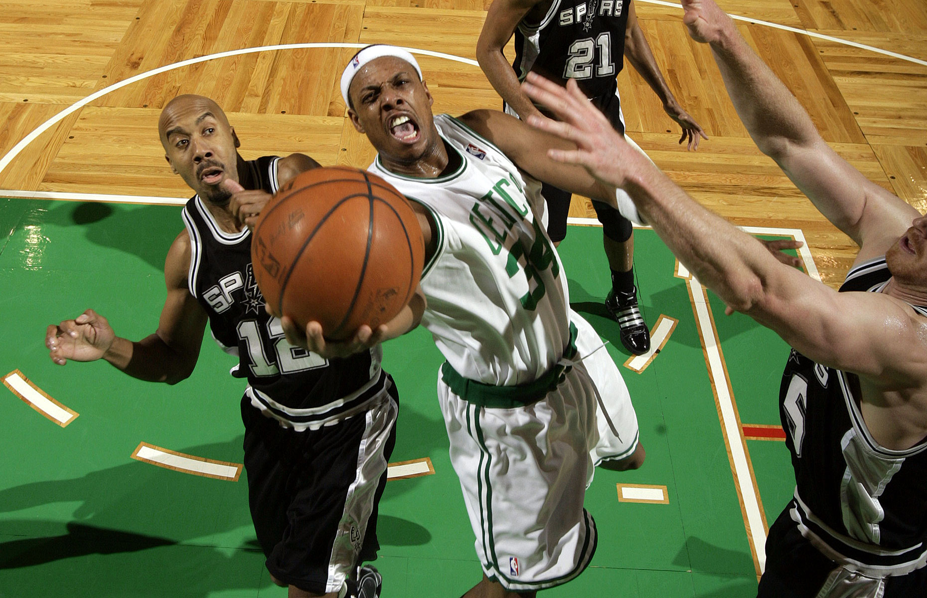 In an elevated view Boston guard Paul Pierce scores against San Antonio Spurs.