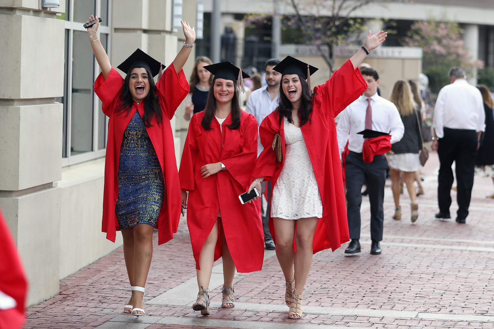 Graduates arrive for Boston University Commencement Services in Agannis Arena