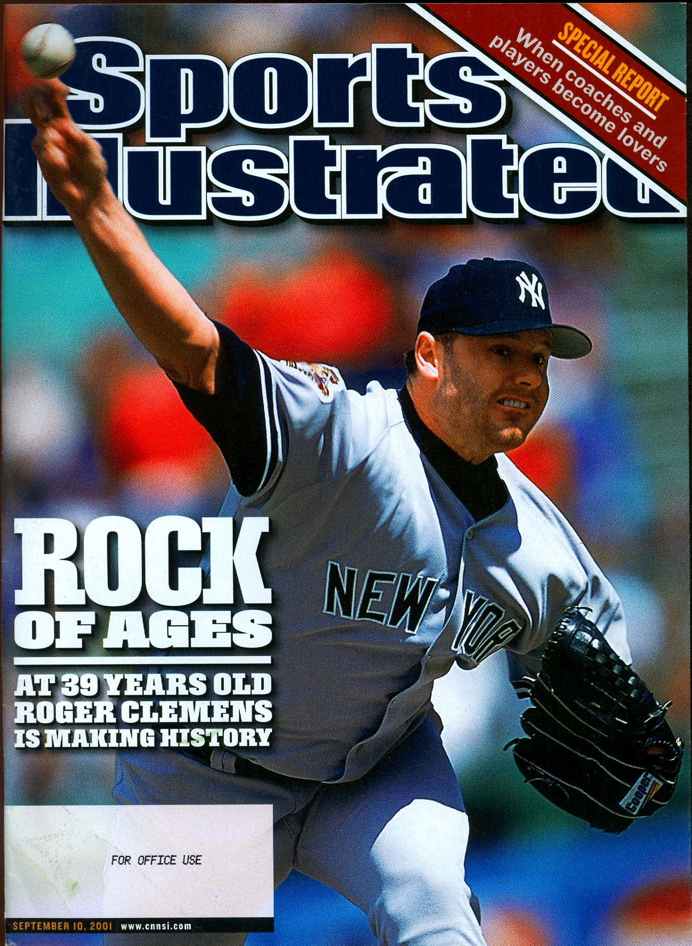 New York Yankees pitcher Roger Clemens on the cover of Sports Illustrated.