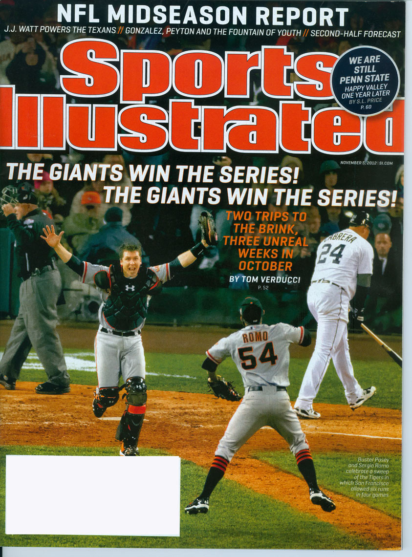 A jubilant Buster Posey on the cover of Sports Illustrated.