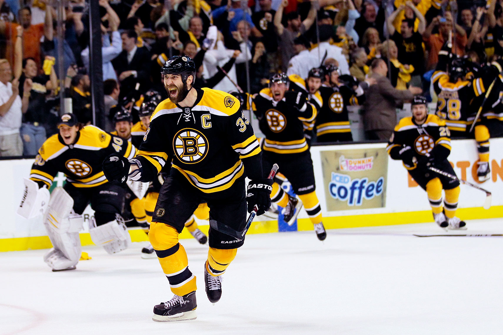 Bruins captain Zdeno Chara reacts to a win in the NHL  Conference Finals in 2011.