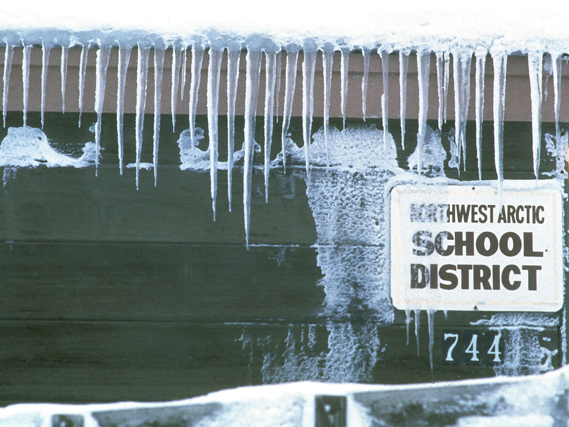 The Northwest Arctic School District is covered in icicles.