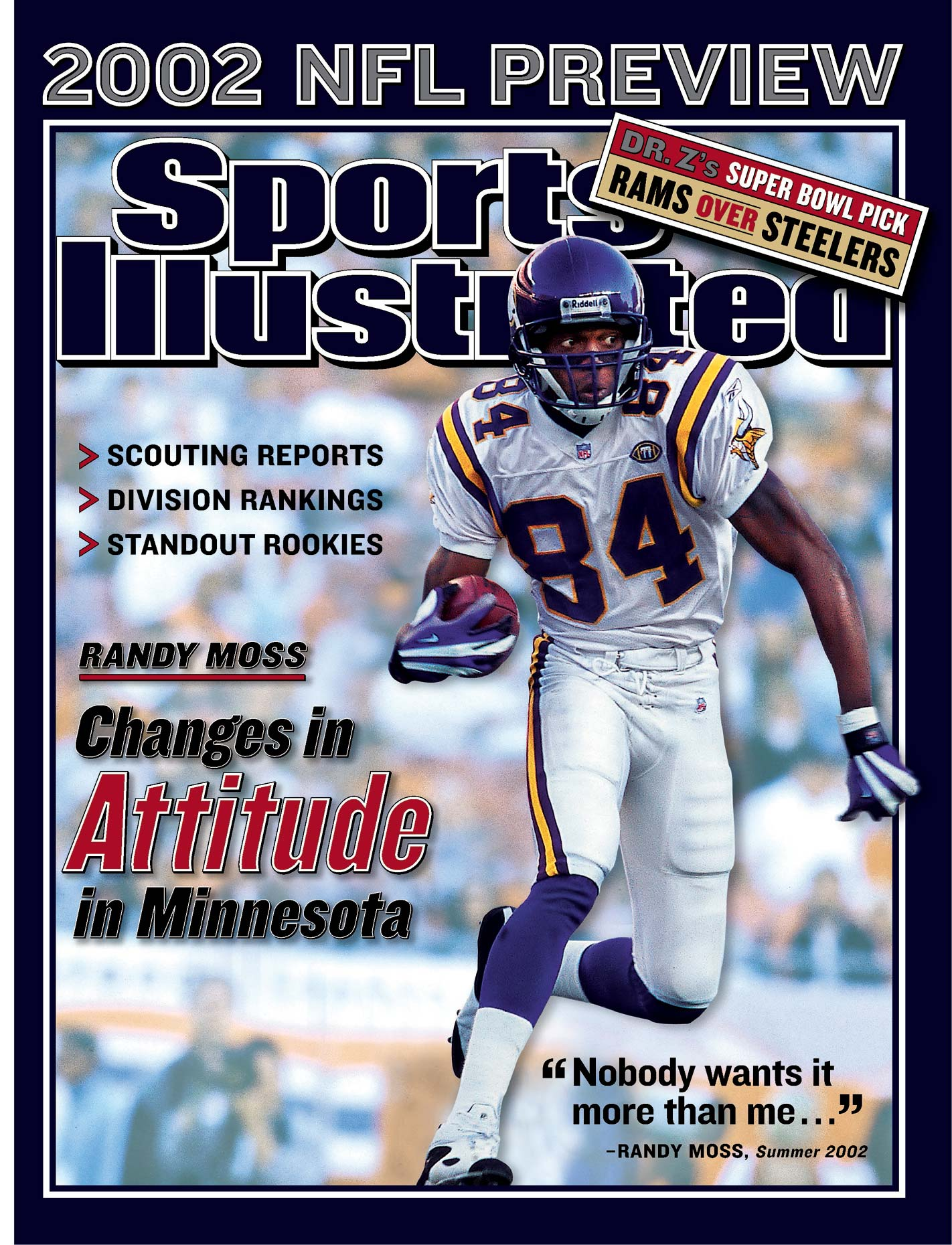 Minnesota Vikings receiver Randy Moss on the cover of Sports Illustrated.