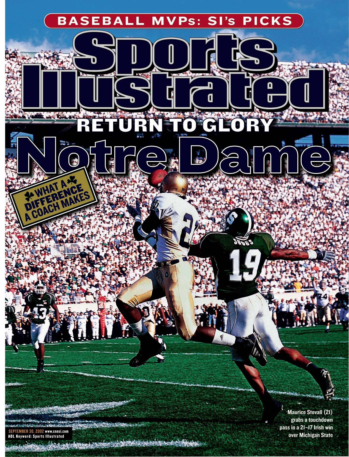 Notre Dame receiver Maurice Stovall  on the cover of Sports Illustrated.