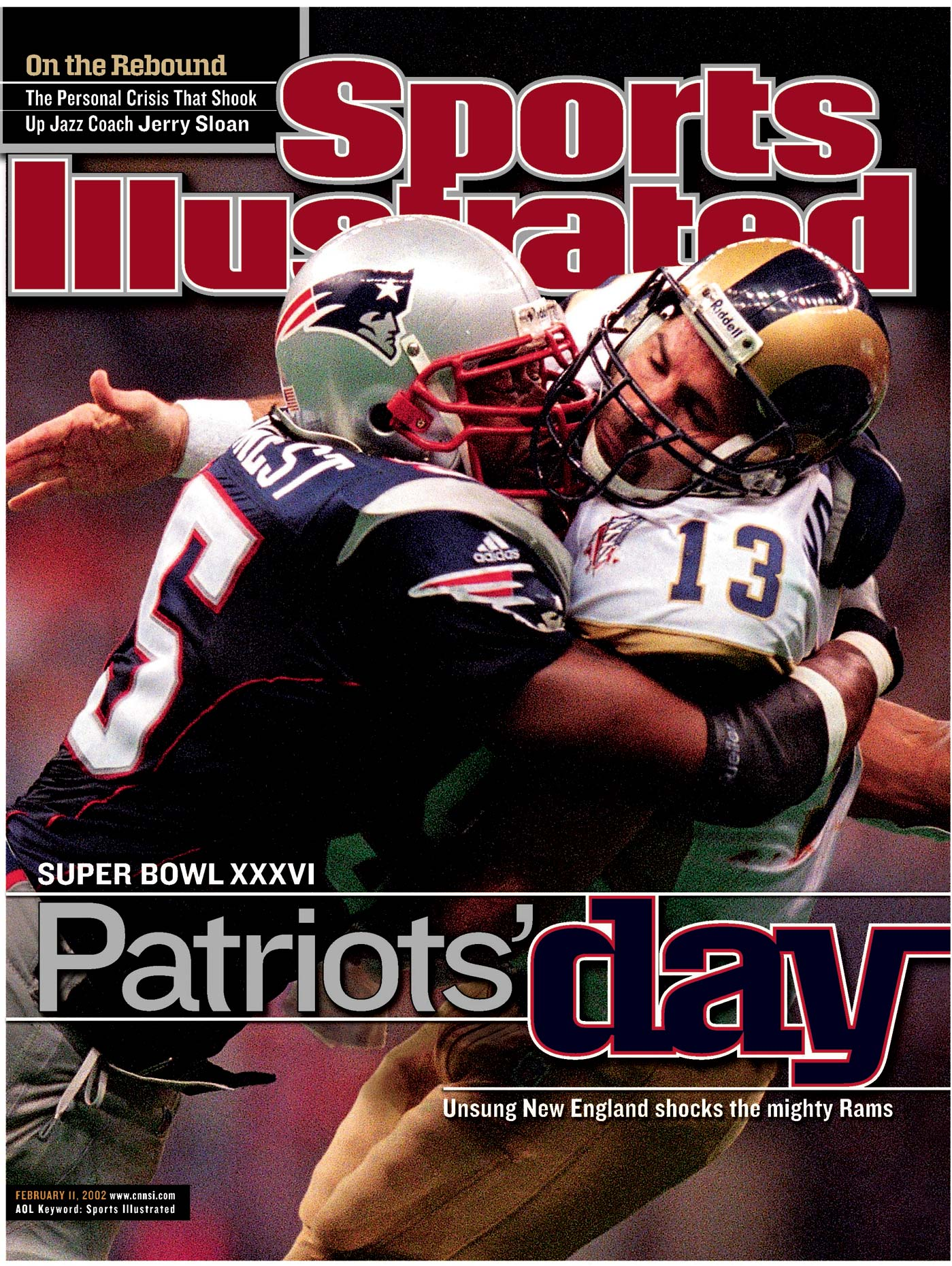 Willie McGinest } Kurt Warner | Super Bowl | Cover of Sports Illustrated