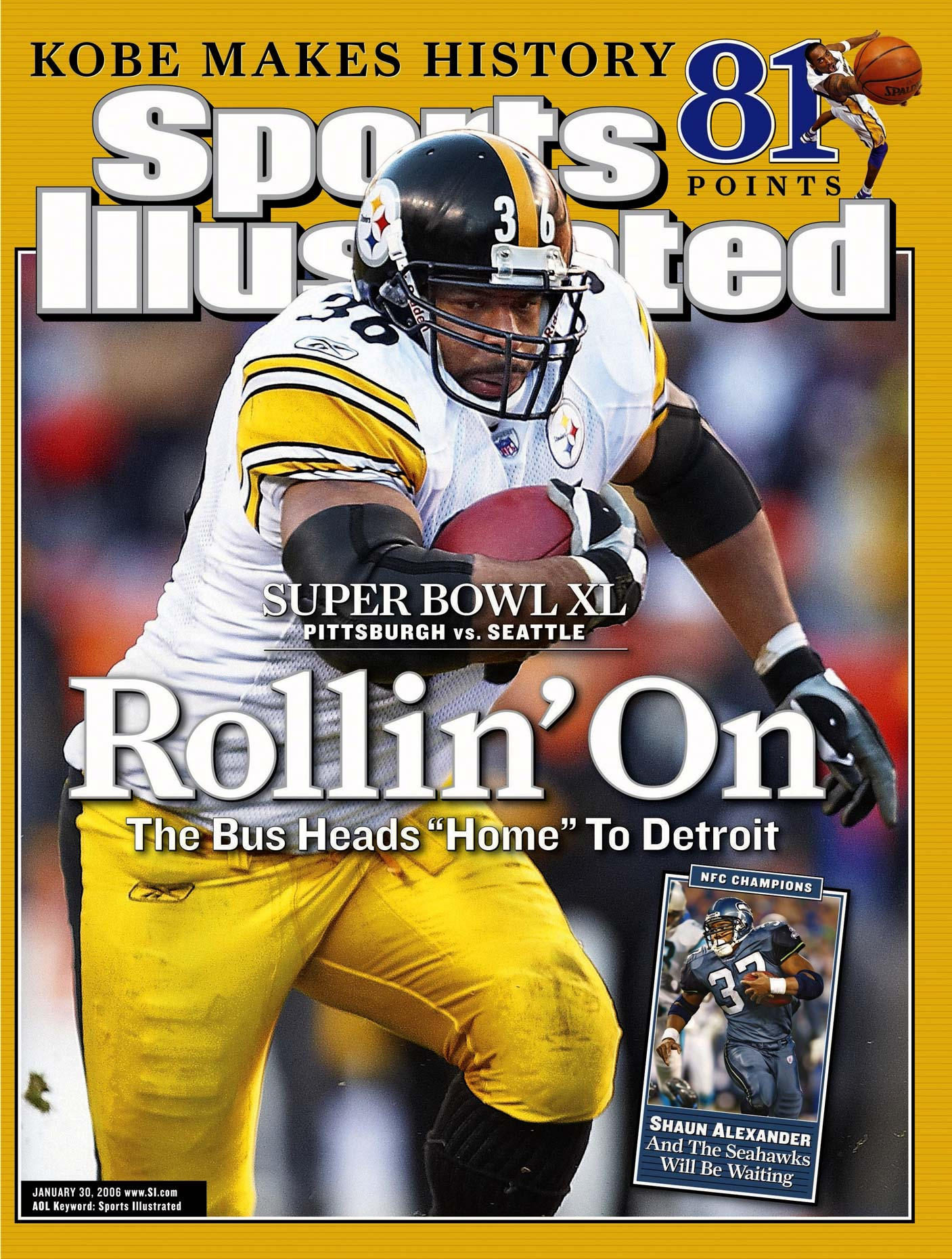 Pittsburgh Steelers running Jerome Bettis on the cover of Sports Illustrated.