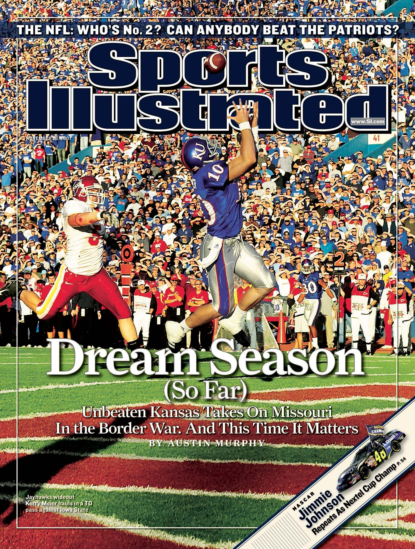 Kerry Meier of the University of Kansas on the cover of Sports Illustrated.