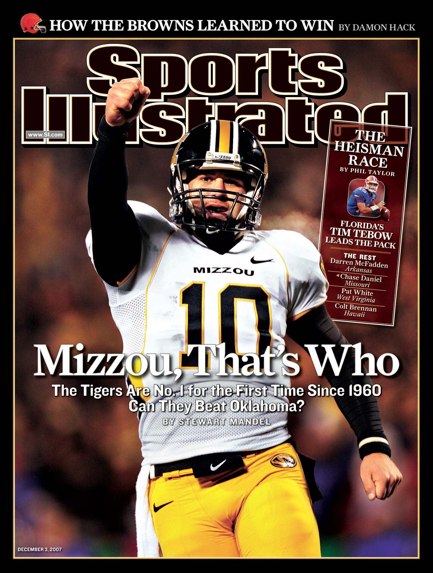 Missouri quarterback Blaine Gabbert on the cover of Sports Illustrated.