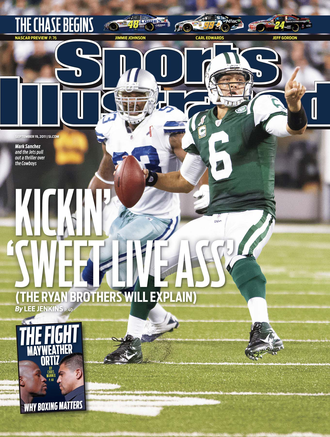 New York Jets quarterback Mark Sanchez on the cover of Sports Illustrated.
