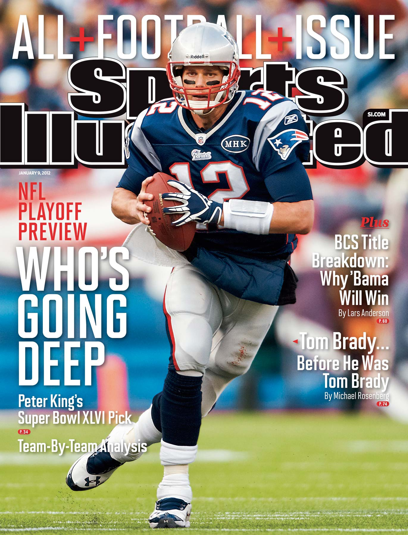 New England Patriots quarterback Tom Brady on the cover of Sports Illustrated.